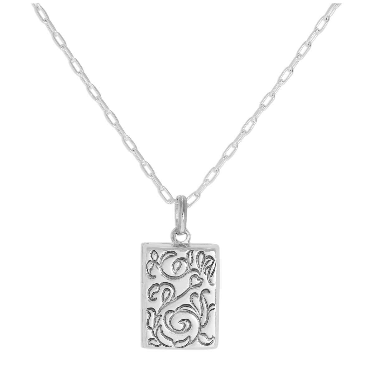 Sterling Silver Rectangular Locket with Floral Design on Chain 16 - 24 Inches
