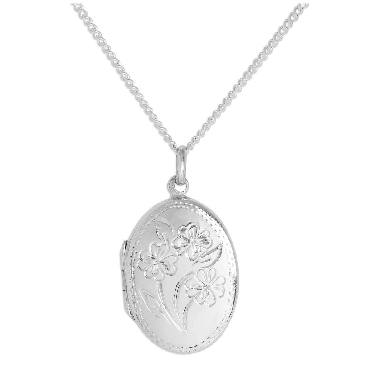 Sterling Silver Oval Flowers Locket on Chain 16 - 24 Inches