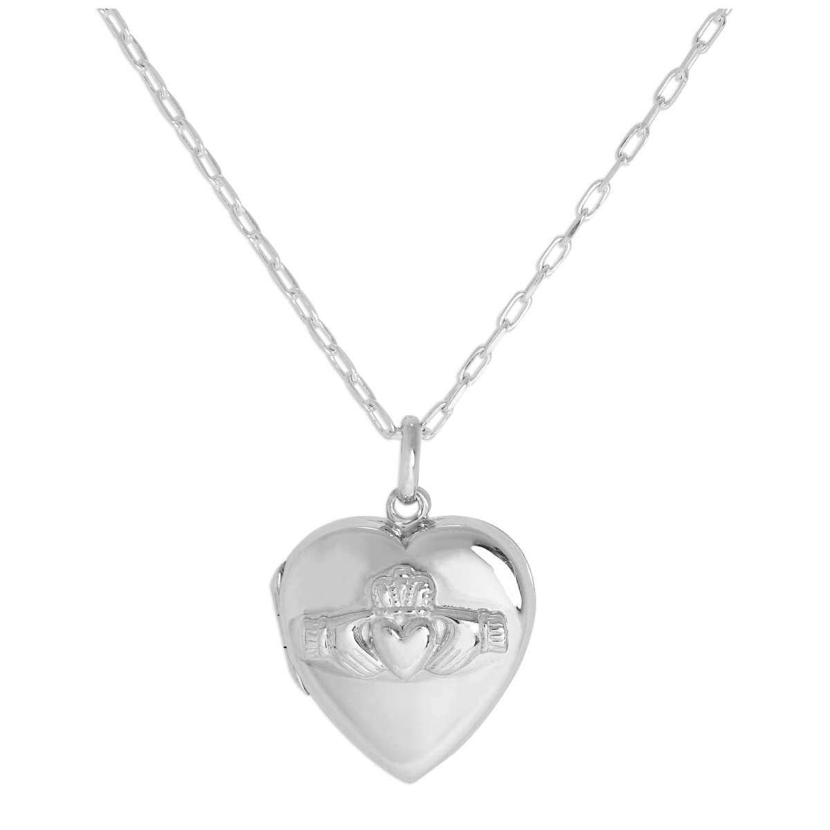 Sterling Silver Claddagh Heart Locket on Chain 16 - 24 Inches