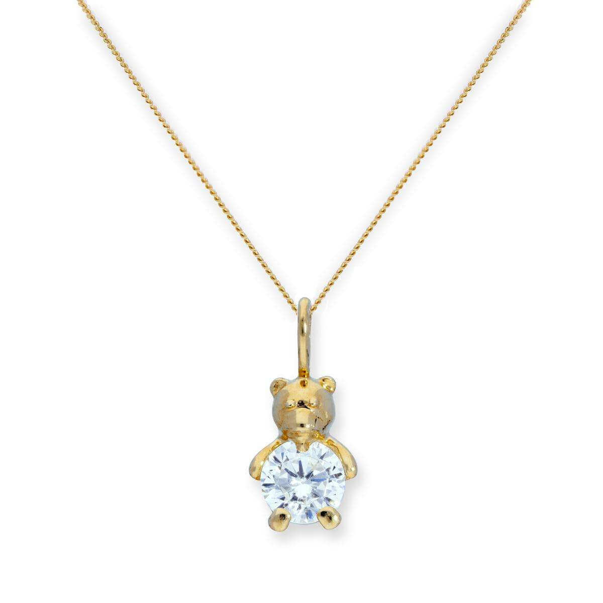9ct Gold & Clear CZ Crystal Teddy Bear Pendant Necklace 16 - 20 Inches