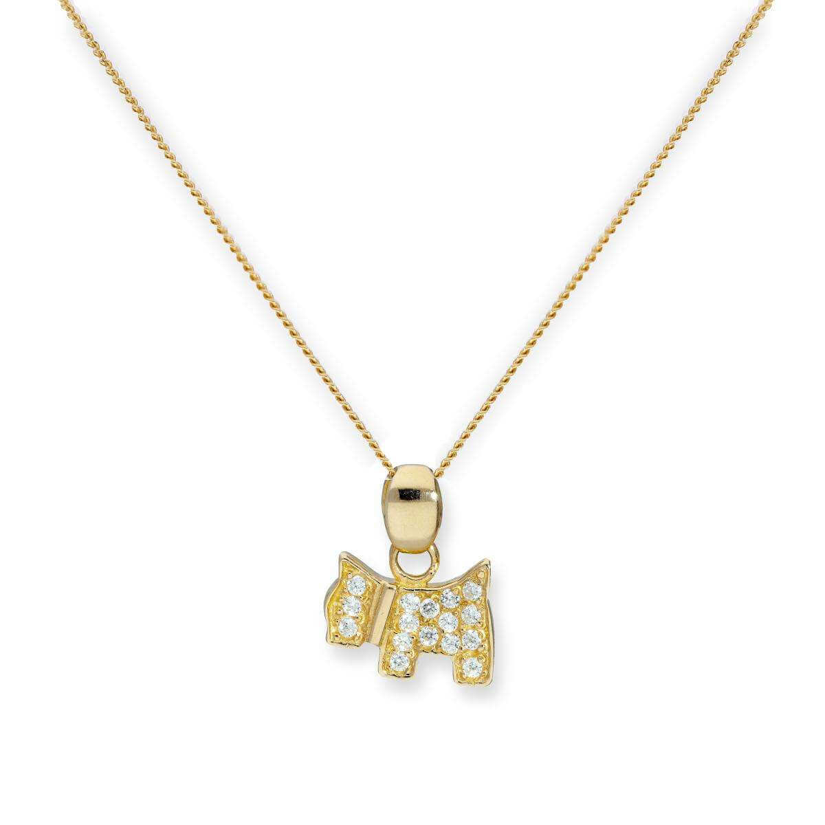 9ct Gold & Clear CZ Crystal Flat Scottie Dog Pendant Necklace 16 - 20 Inches