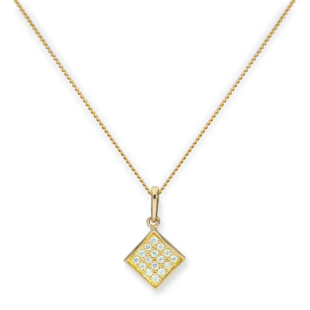 9ct Gold & Clear CZ Crystal Flat Square Pendant Necklace 16 - 20 Inches