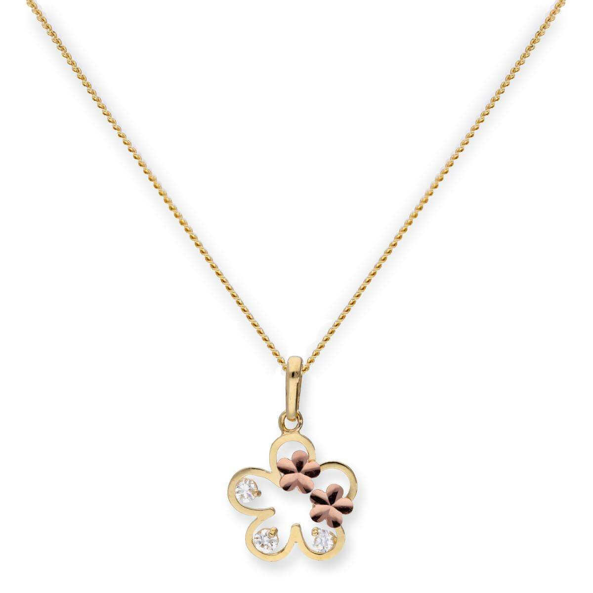 9ct Gold & Clear CZ Crystal Flower Outline w Rose Gold Flowers Pendant