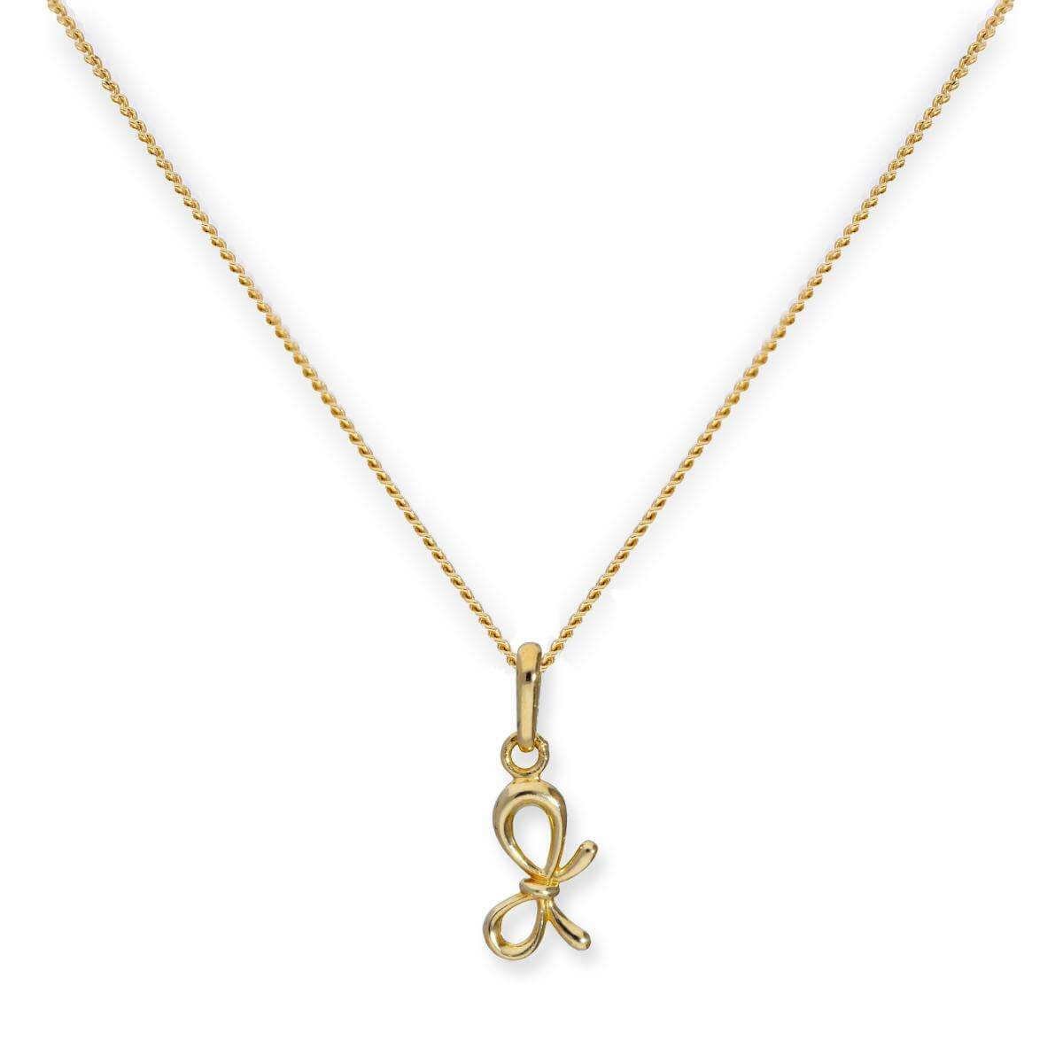 9ct Gold Ribbon Bow Pendant on Chain 16 - 20 Inches