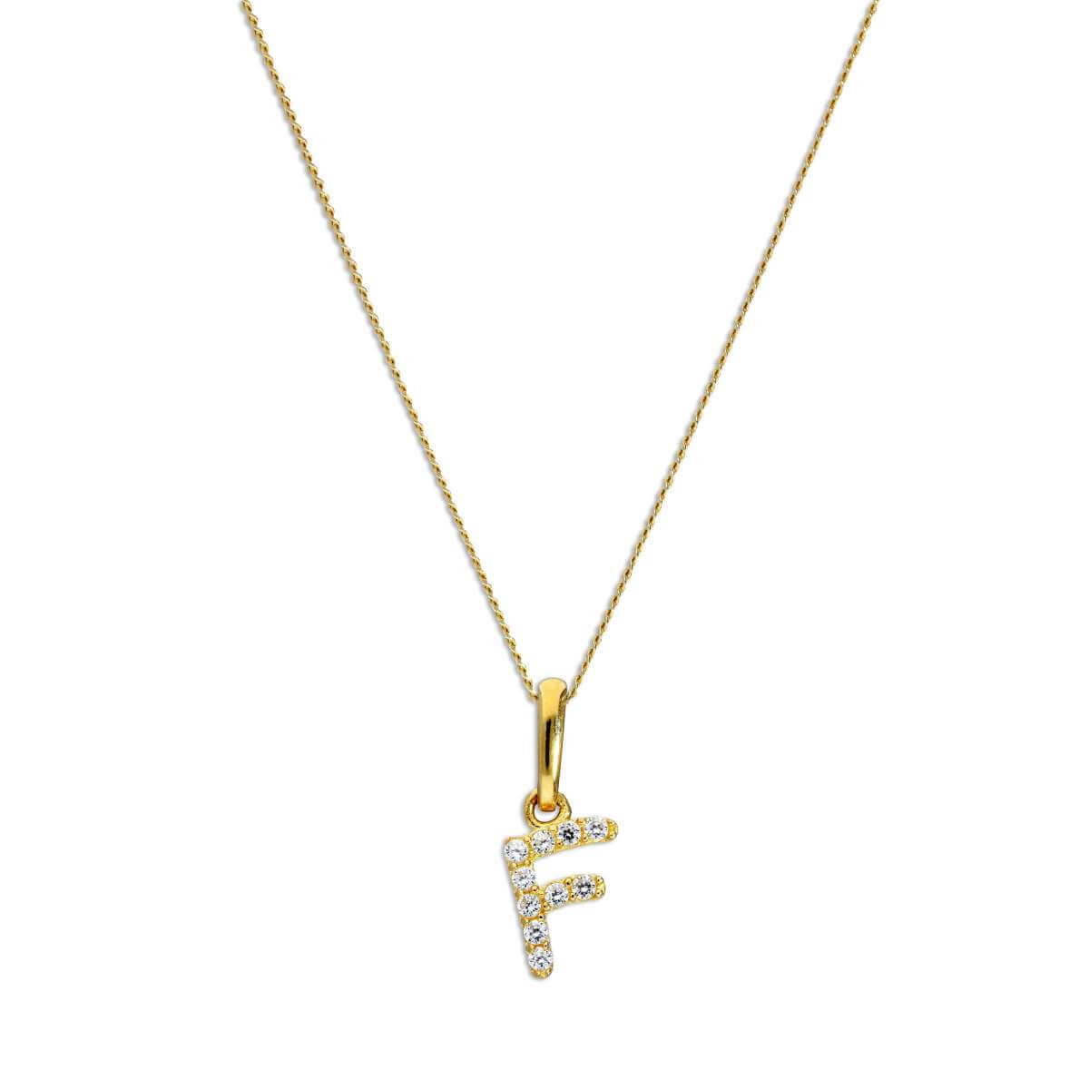 9ct Gold & Clear CZ Crystal Script Alphabet Letter F Necklace 16 - 20 Inches