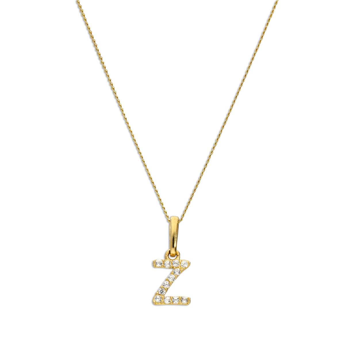 9ct Gold & Clear CZ Crystal Script Alphabet Letter Z Necklace 16 - 20 Inches