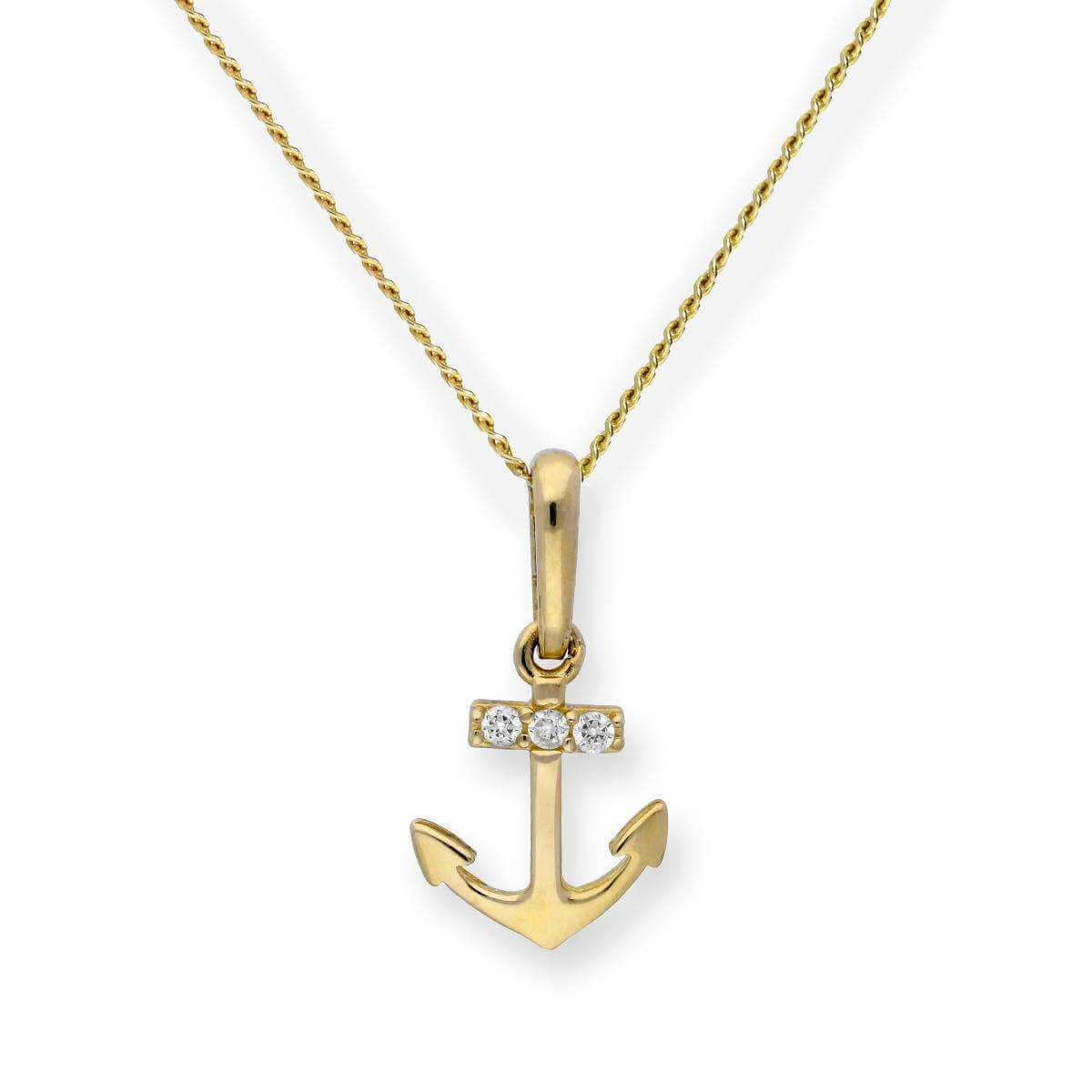 9ct Gold & Clear CZ Crystal Anchor Pendant Necklace