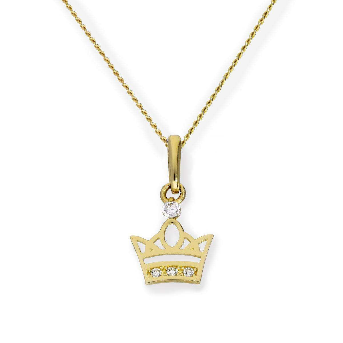 9ct Gold & Clear CZ Crystal Royal Crown Pendant Necklace