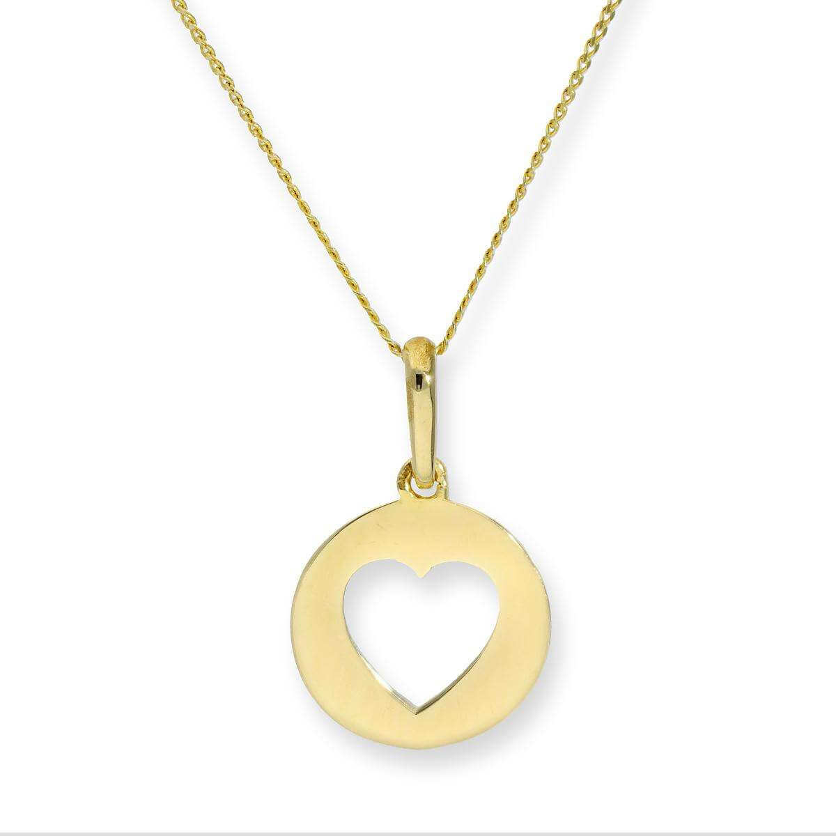 9ct Gold Round Pendant w Cut Out Heart on Chain