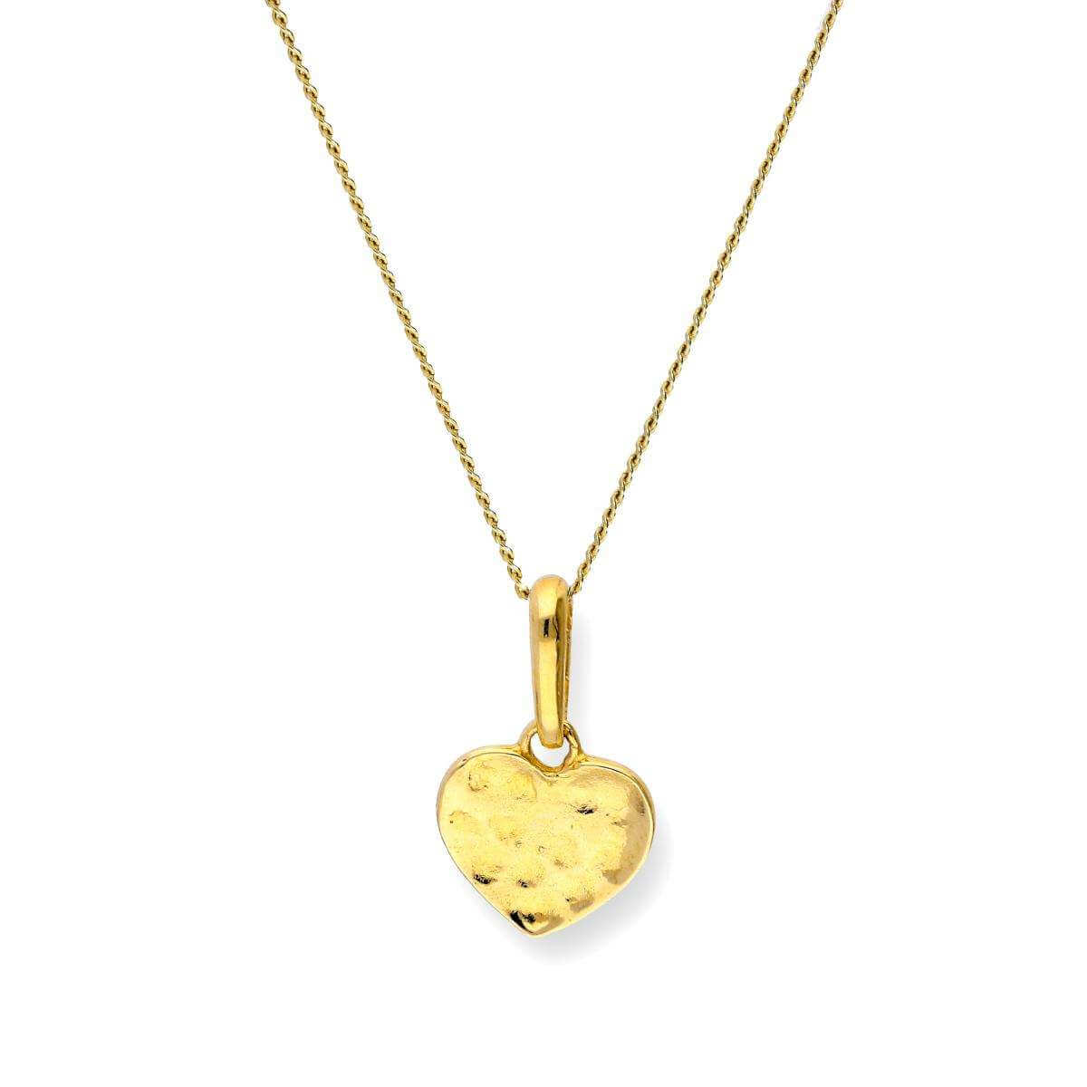 9ct Gold Hammered Finish Heart Pendant on Chain