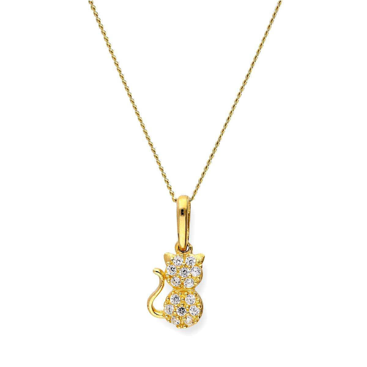 9ct Gold & Clear CZ Crystal Cat Pendant Necklace