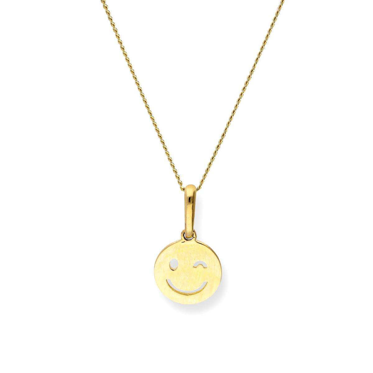 9ct Gold Winking Smiley Face Pendant Necklace
