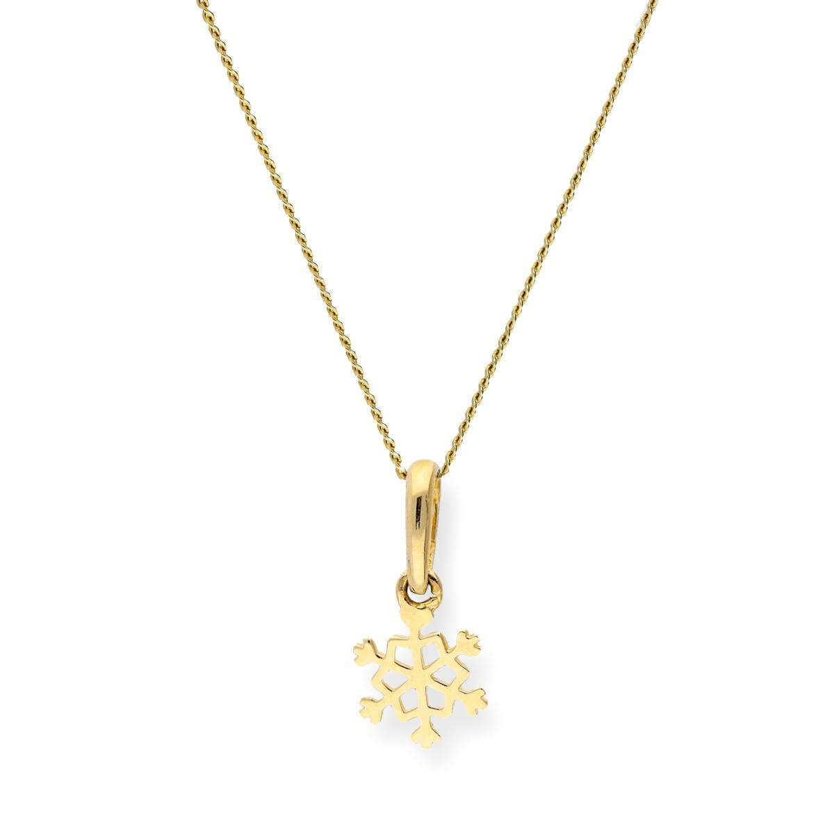 9ct gold snowflake pendant on chain sayerslondon 9ct gold snowflake pendant on chain aloadofball Images