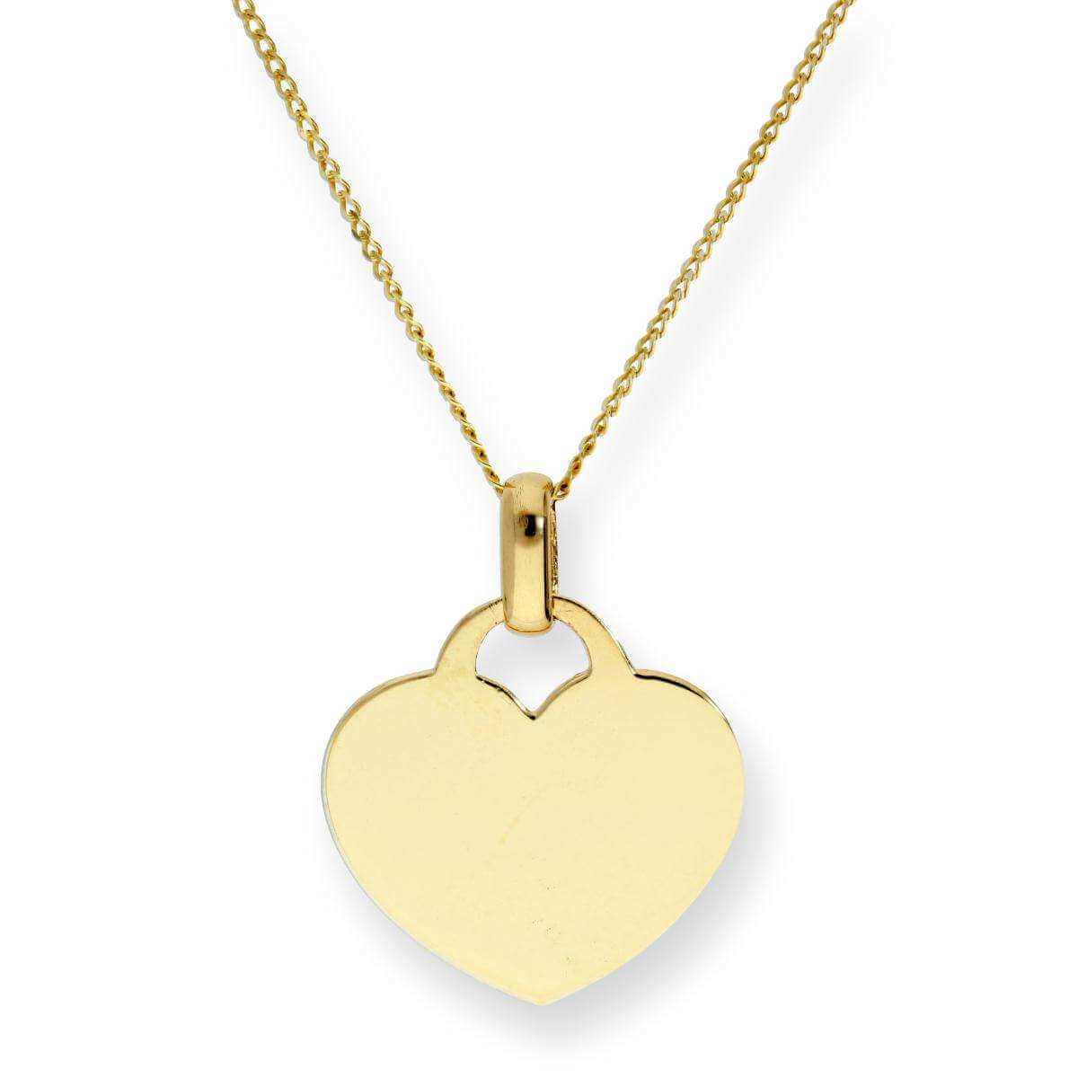 9ct Gold Engravable Heart Pendant Necklace 16 - 18 Inches