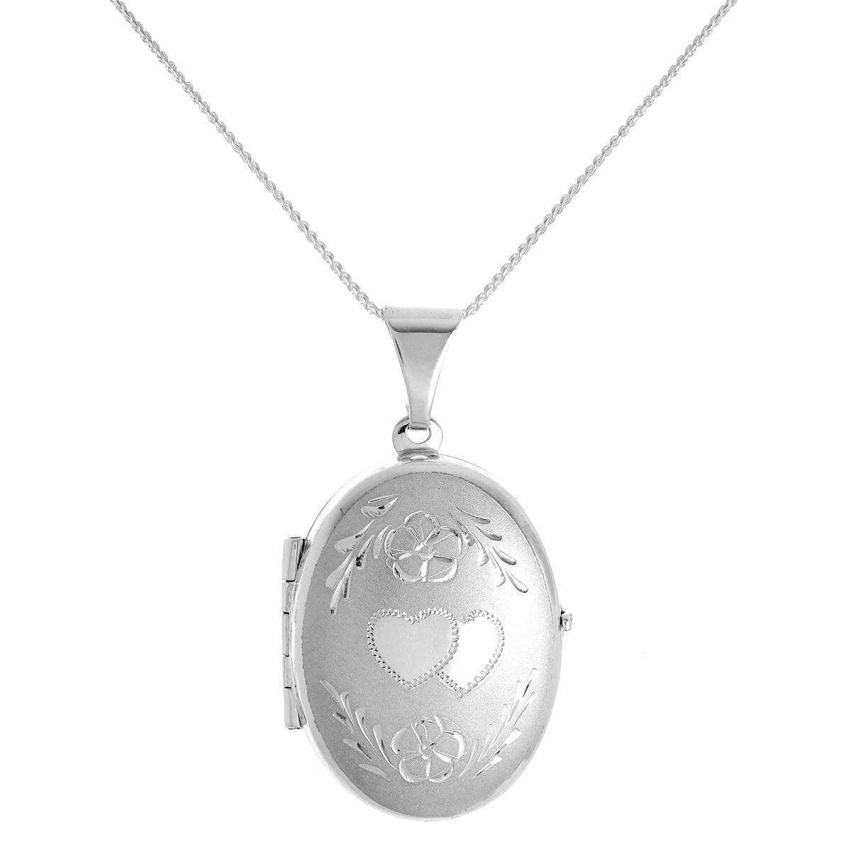 Matt Sterling Silver Oval 4 Photo Family Locket on Chain
