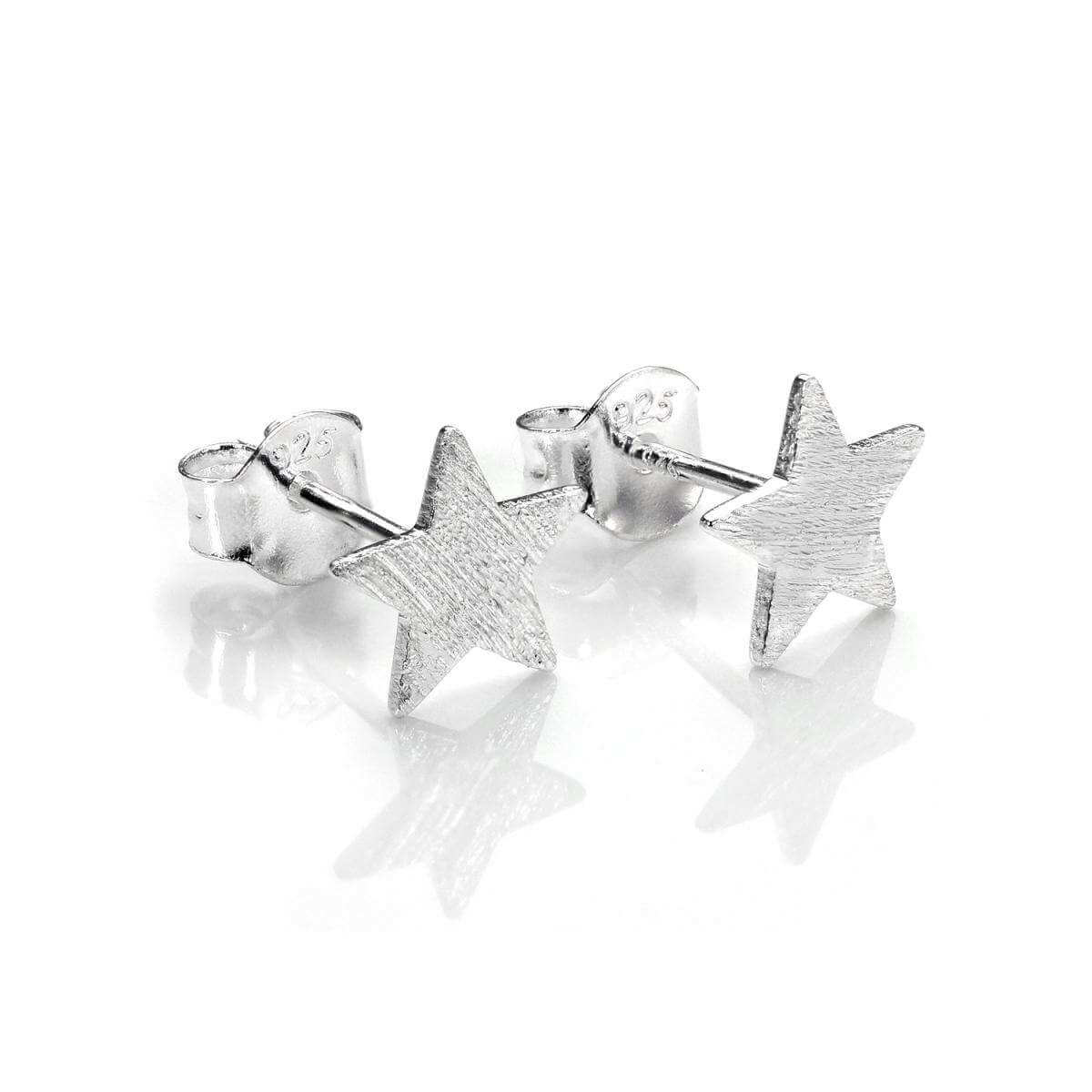 Brushed Sterling Silver Flat Star Stud Earrings