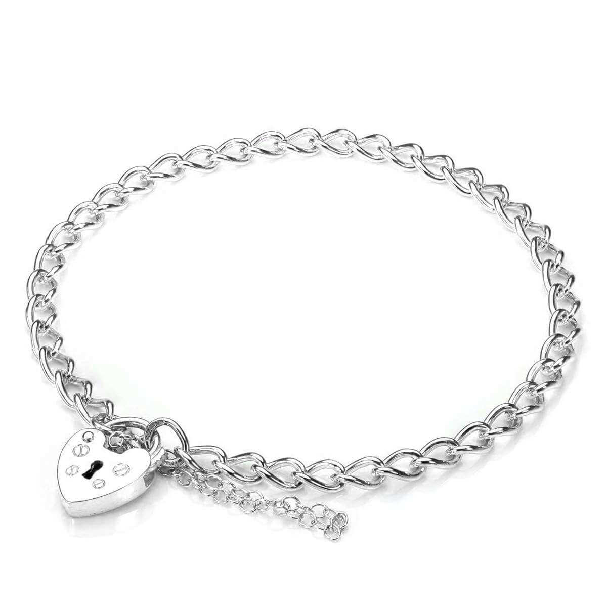 9ct White Gold Heart Padlock Charm Bracelet