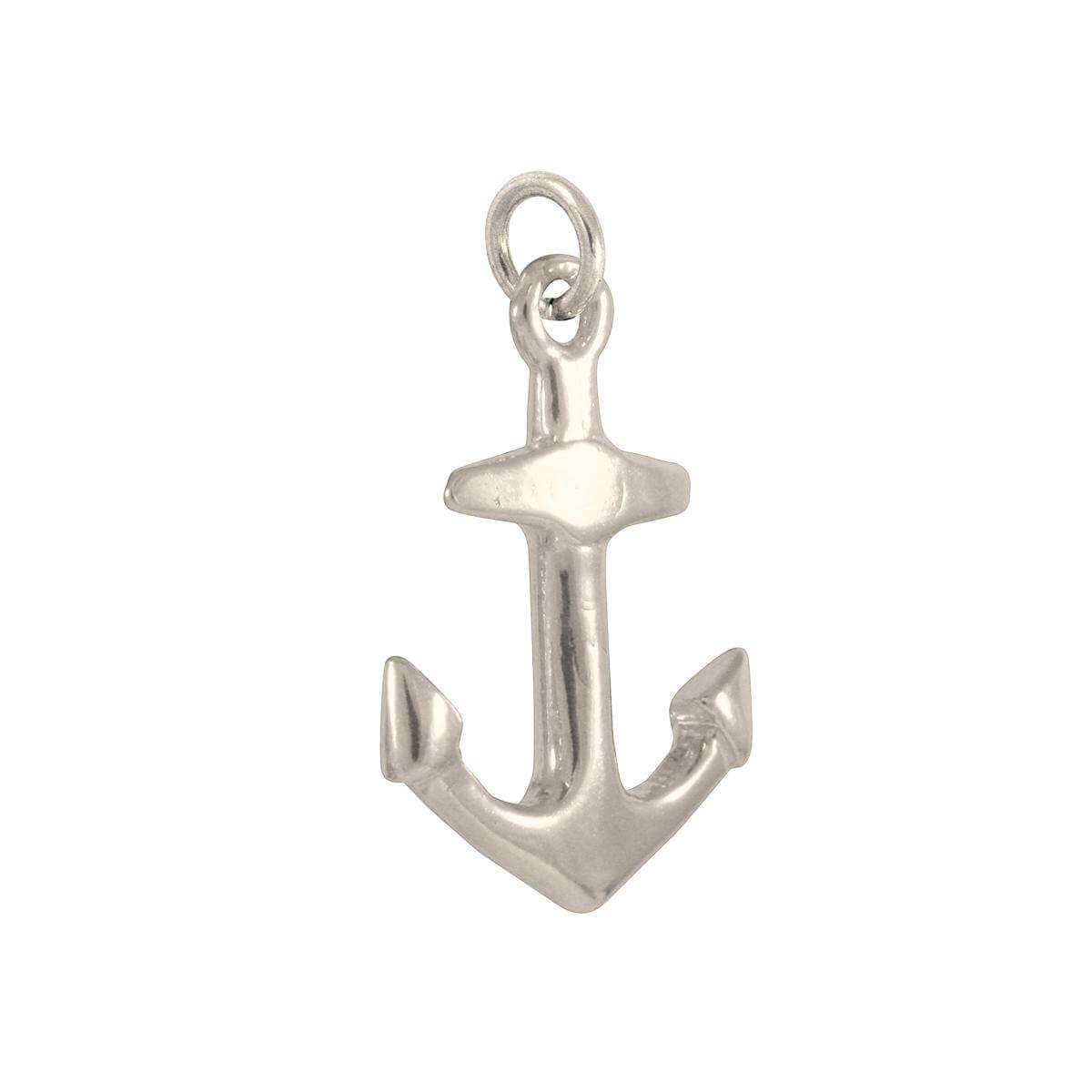 9ct White Gold Anchor Charm