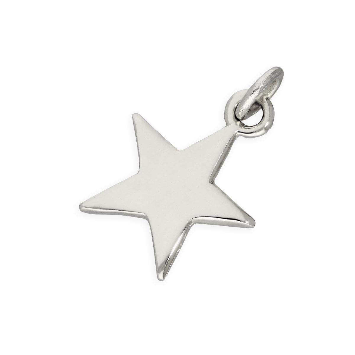 9ct White Gold Star Charm