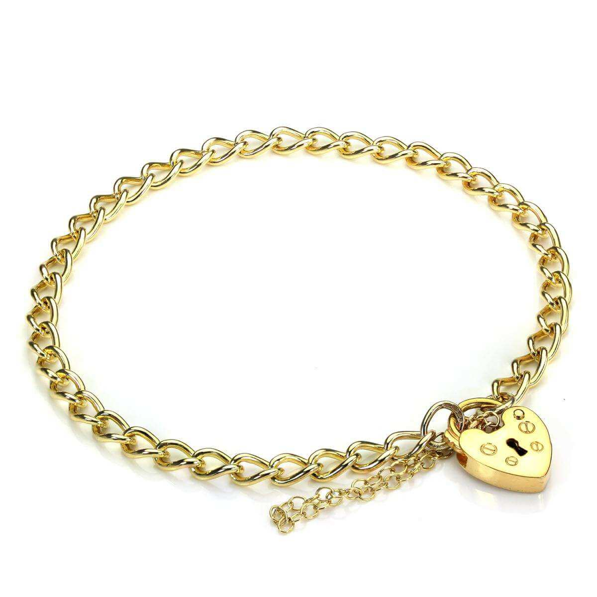 Childs Gold Heart Padlock Charm Bracelet