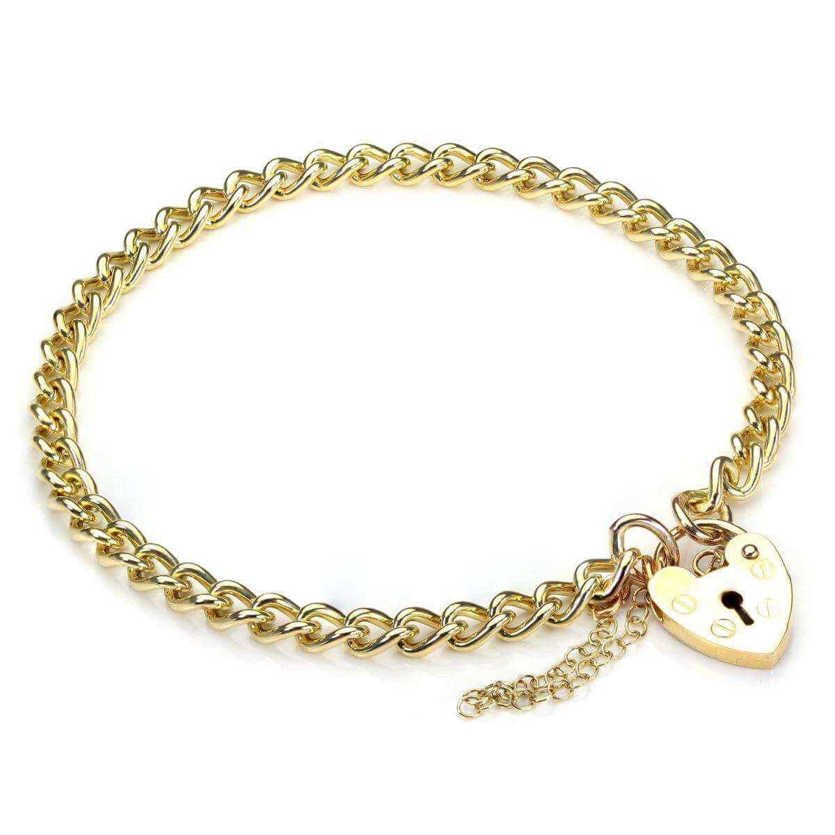Closed Curb Heart Padlock Charm Bracelet