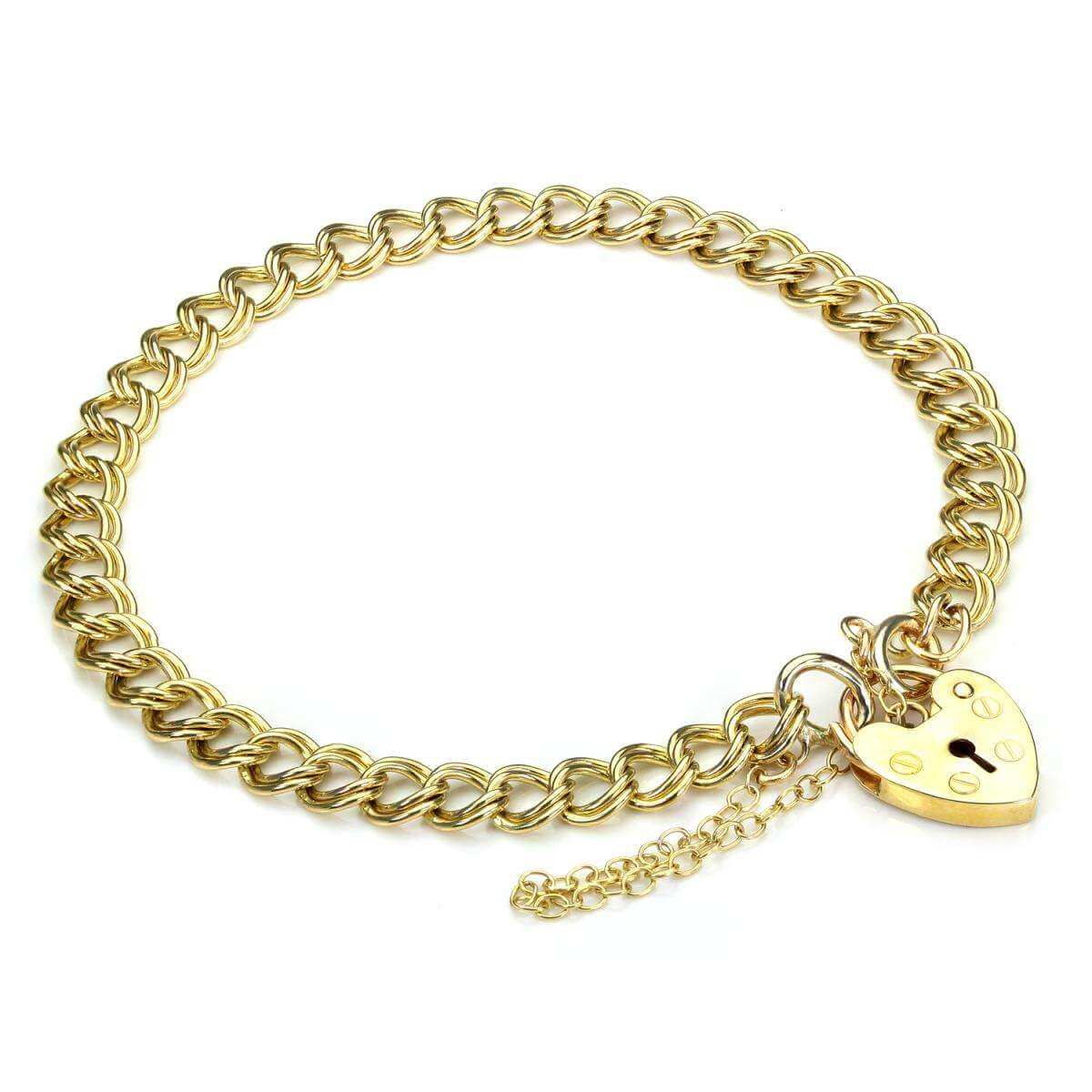 Double Curb Heart Padlock Gold Charm Bracelet