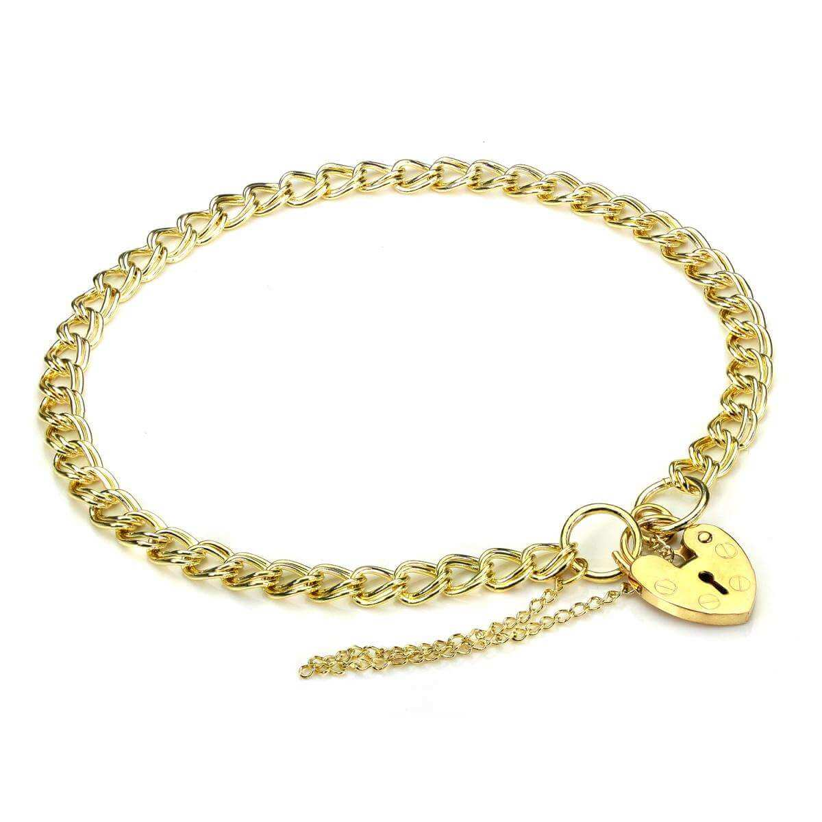 Light Double Curb Heart Padlock Charm Bracelet