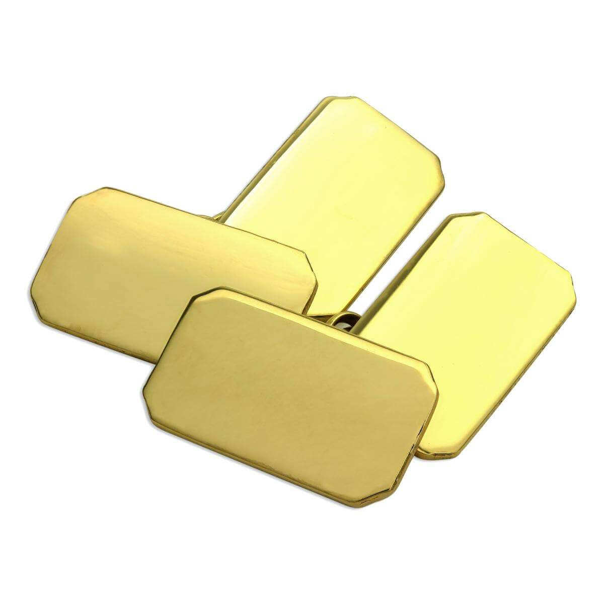 18ct Gold Heavy Rectangular Double Sided Engravable Cufflinks