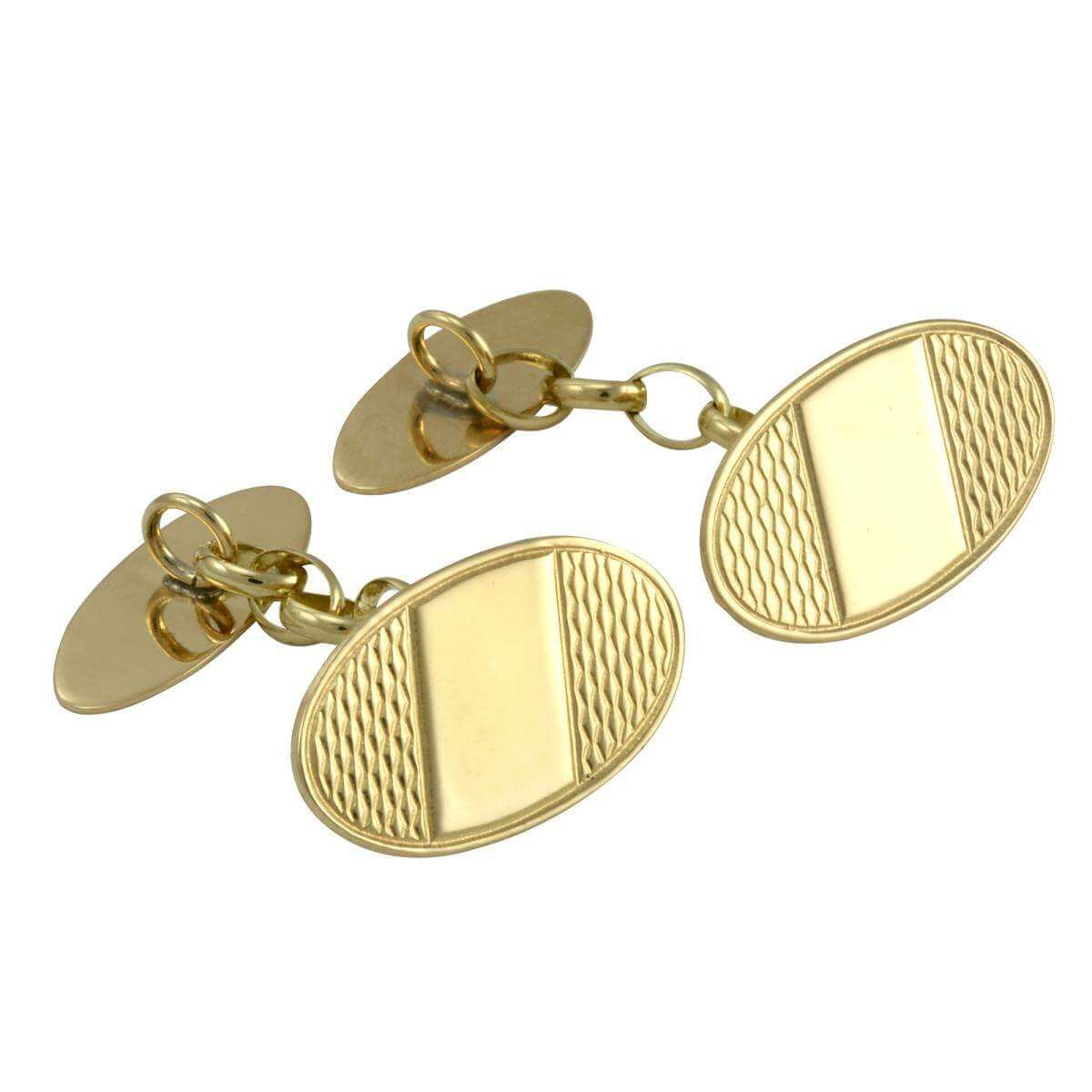 9ct Gold Patterned Oval Cufflinks