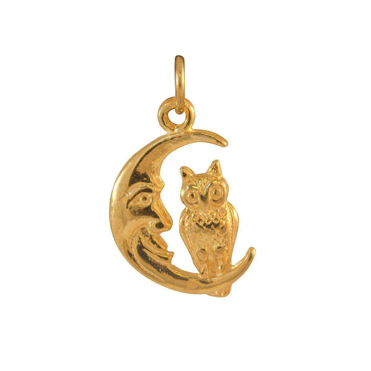 9ct Gold Owl Sitting on Moon Charm