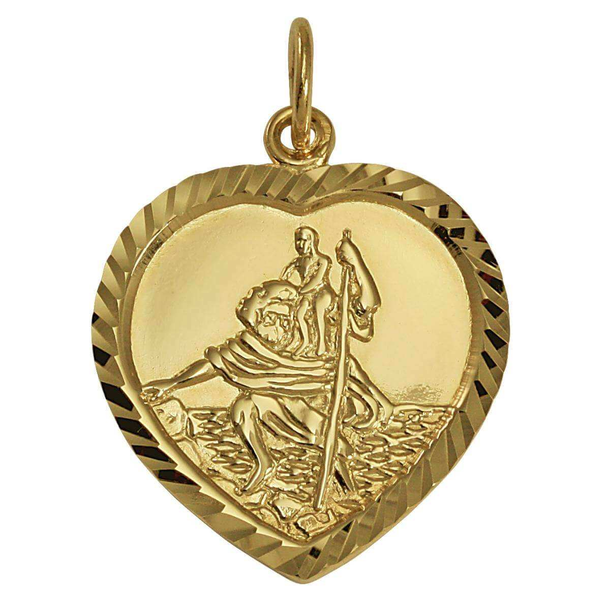 9ct Gold St Christopher in Love Heart