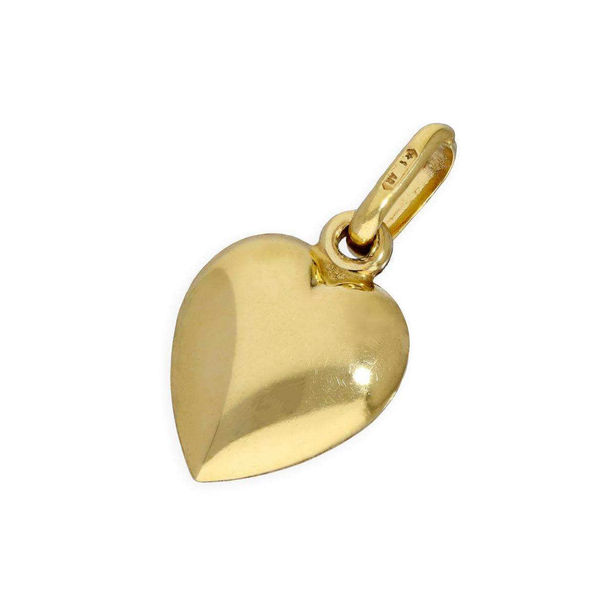 9ct Yellow Gold Small Puffed Heart Charm